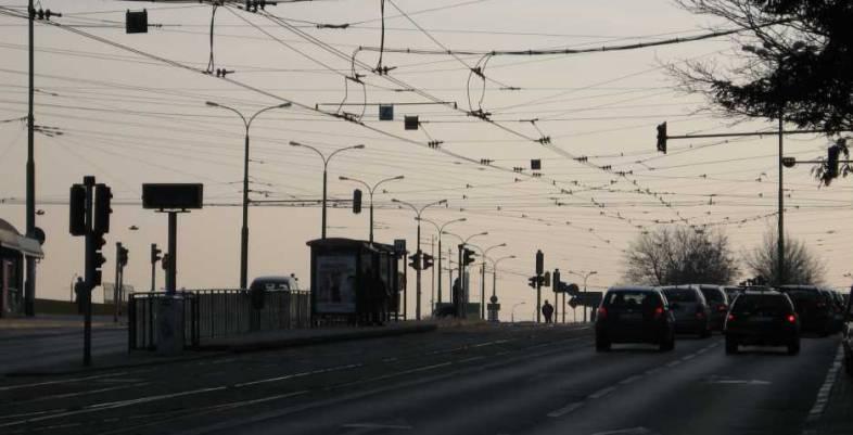 Tram cables over Franklina Roosevelta Street